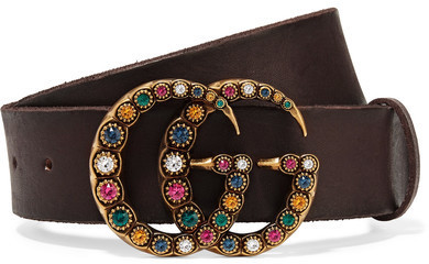 Gucci Crystal Embellished Leather Belt Brown