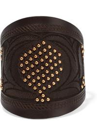 Valentino Embellished Leather Bracelet Chocolate