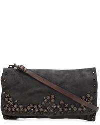Dark Brown Embellished Leather Crossbody Bag