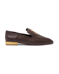 Salvatore Ferragamo Lana Embellished Leather Collapsible Heel Loafers