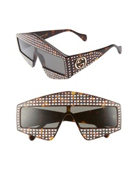 Gucci 99mm Embellished Shield Sunglasses