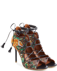 Malone Souliers Embroidered Satin Stiletto Sandals
