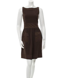 Dark Brown Fit and Flare Dress