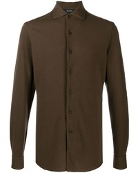 Z Zegna Spread Collar Flannel Shirt