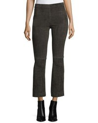 Vince Stretch Suede Flared Crop Pants