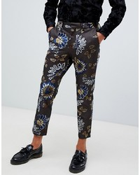 ASOS DESIGN Skinny Crop Smart Trouser In Brown With Floral Flocking