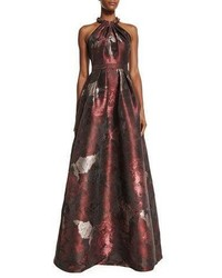 Carmen Marc Valvo Sleeveless Abstract Floral Ball Gown Cinnamon