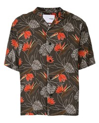 Dark Brown Floral Short Sleeve Shirt