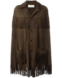 Saint Laurent Fringed Trim Cape