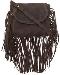 Dark Brown Fringe Leather Crossbody Bag