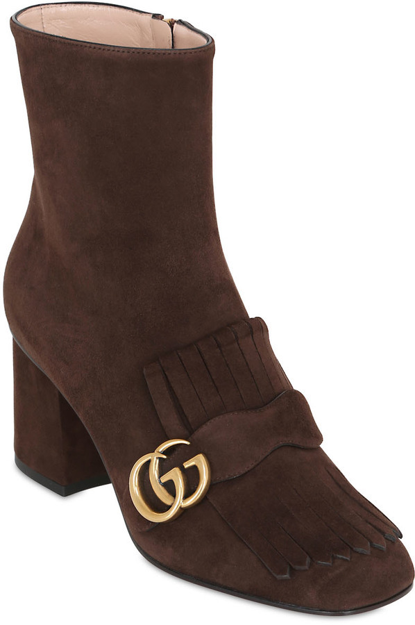 0a927b37744 ... Gucci 75mm Marmont Fringed Suede Ankle Boots ...
