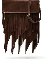 Elizabeth and James Andrew Suede Fringe Clutch Bag Chocolate
