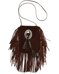 Anita suede flat fringe crossbody bag dark brown medium 290535
