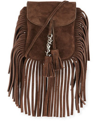 Saint Laurent Anita Toy Flat Suede Fringe Crossbody Bag Brown