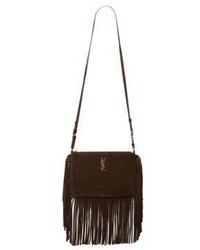 Saint Laurent Monogram Small Fringed Suede Crossbody Bag