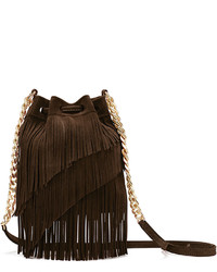 Elizabeth and James Suede Fringe Pouch Crossbody Bag Chocolate