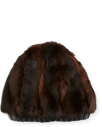 Fur cashmere beanie hat brown medium 746344