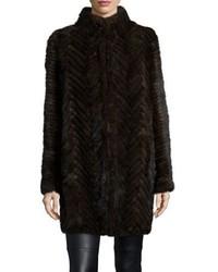 Belle fare herringbone pattern mink fur coat medium 5370232