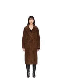 The Loom Brown Wool Faux Fur Double Coat