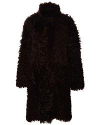 Proenza Schouler Curly Long Haired Fur Hooded Long Coat Dark Brown