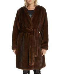 Frame Faux Mink Fur Robe Coat