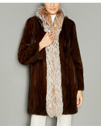 The Fur Vault Fox Fur Trim Mink Fur Coat