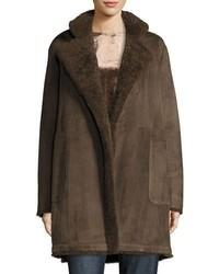 Vince Reversible Teddy Shearling Fur Coat Dark Willow