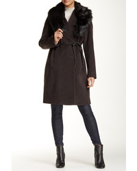 Dark Brown Fur Collar Coat