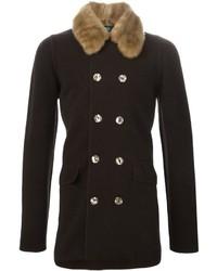 Dark Brown Fur Collar Coat