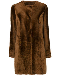 Drome Collarless Fur Effect Coat