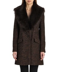 Belle Badgley Mischka Holly Faux Fur Collar Boucle Coat