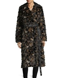 Helmut Lang Tortoise Faux Fur Shawl Collar Belted Coat W Faux Leather Trim