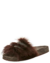 Brunello Cucinelli Monili Trimmed Flat Fur Slide