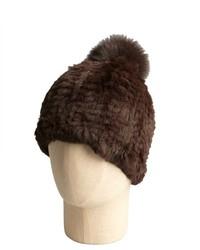 Adrienne Landau Brown Rabbit And Fox Fur Pom Pom Hat