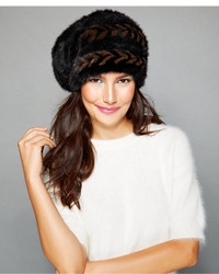The Fur Vault Herringbone Knitted Mink Slouchy Beret