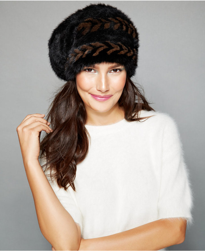 ... The Fur Vault Herringbone Knitted Mink Slouchy Beret ... e6e78f542b2