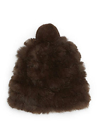 Saks Fifth Avenue Knitted Rabbit Fur Pom Pom Hat