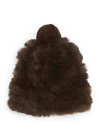 Saks Fifth Avenue Knitted Rabbit Fur Pom Pom Hat