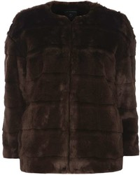 Chocolate Faux Fur Short Coat