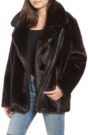32eb74f7bd1 Kendall   Kylie Oversize Faux Mink Fur Moto Jacket
