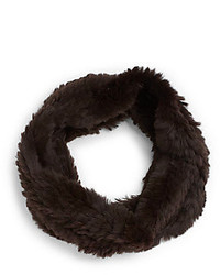 Adrienne Landau Knit Rabbit Fur Circle Scarf