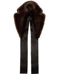 Calvin Klein Collection Brown Faux Fur Leather Scarf