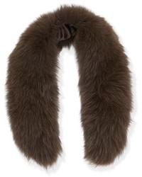 Alice + Olivia Izzy Fox Fur Collar Brown