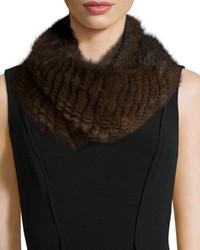 Pologeorgis Knitted Mink Fur Infinity Scarf Brown