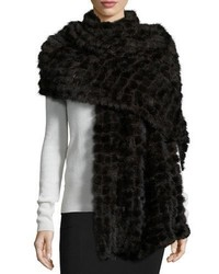 Natural mink fur stole dark brown medium 950424