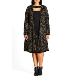 City Chic Plus Size Geo Pattern Hooded Cardigan