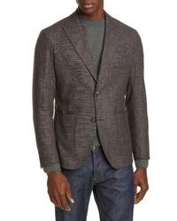 Eleventy Slim Fit Check Wool Blend Sport Coat