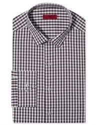 Alfani Dress Shirt Fitted Brown Oversized Check Long Sleeved Shirt