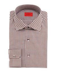 Isaia Gingham Check Dress Shirt Brown