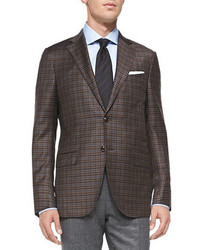 Dark Brown Gingham Wool Blazer